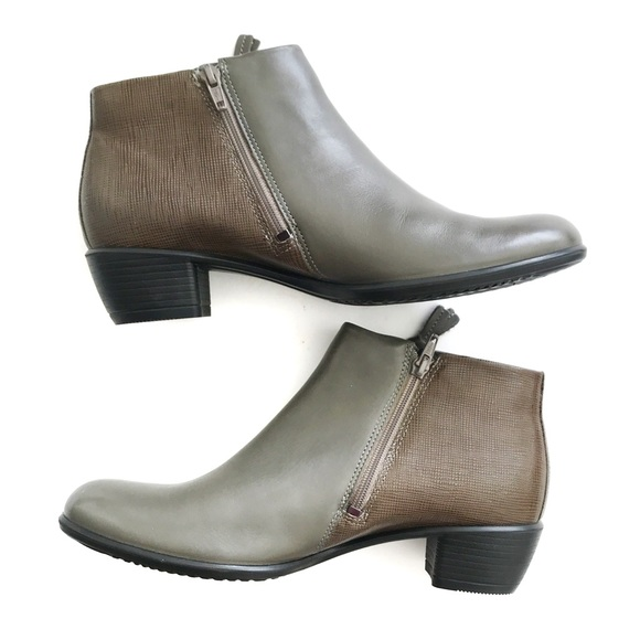 b951a879213 NEW Ecco Shape Side Zip Leather Ankle Boots